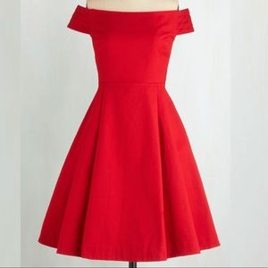 Modcloth Emily Fin Delilah Kettle Corn Dress Red